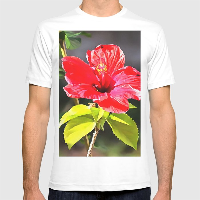 Beautiful Red Tropical Hibiscus Flower T Shirt By Taiche Society6