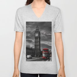 London - Big Ben with Red Bus bw red Unisex V-Neck