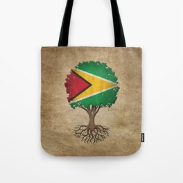 Vintage Tree of Life with Flag of Guyana Tote Bag