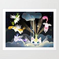 Enchanted Caticorn Cloud Art Print