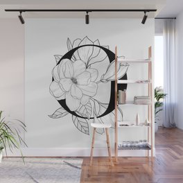 Monogram Letter O with Magnolia Line Art Wall Mural
