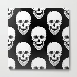 Black and white abstract pattern . Skull Metal Print