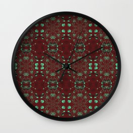 Japanese Lantern - Neon Turquoise Pattern in Espresso Red by artestreestudio Wall Clock