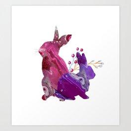 Easter Bunny Fluid Marble Acrylic Art Spring Purple Pink Rabbit Art Print
