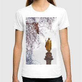 Statue of a saint in gold T-shirt