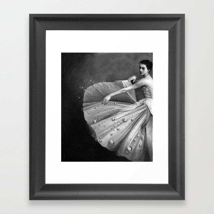 White Morning - graphite pencil drawing Framed Art Print