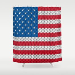American Flag - knitted Shower Curtain