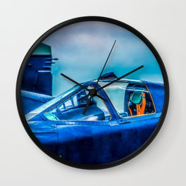 Cockpit Of A Modern Fighter Plane. Blue Colors. Aviation Art Wall Clock