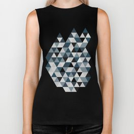 Sea Blue and Grey / Gray - Hipster Geometric Triangle Pattern 02 Biker Tank