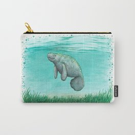 """Mossy Manatee"" by Amber Marine ~ Watercolor & Ink Painting, (Copyright 2016) Carry-All Pouch"