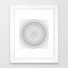 Gray White Mandala Framed Art Print