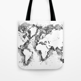 Watercolor splatters world map in grayscale Tote Bag