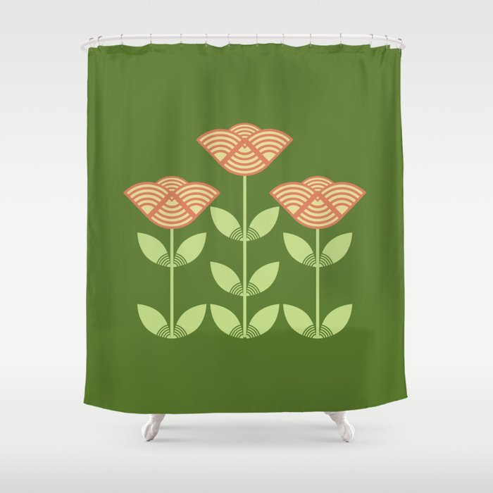 Three Japanese Style Flowers Shower Curtain By Annalemos