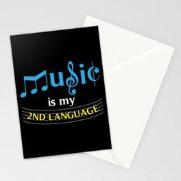 Music Is My 2nd Language Stationery Cards