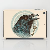 wrestling iPad Cases featuring Raven's Head by Rachel Caldwell
