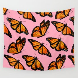 Monarch Butterfly Pattern-Pink Wall Tapestry