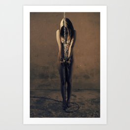 Photograph naked woman in medieval shackles Art Print