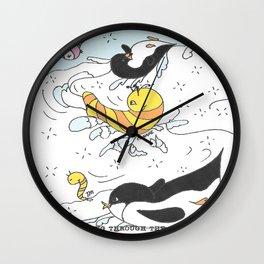 Playful Penguins Wall Clock