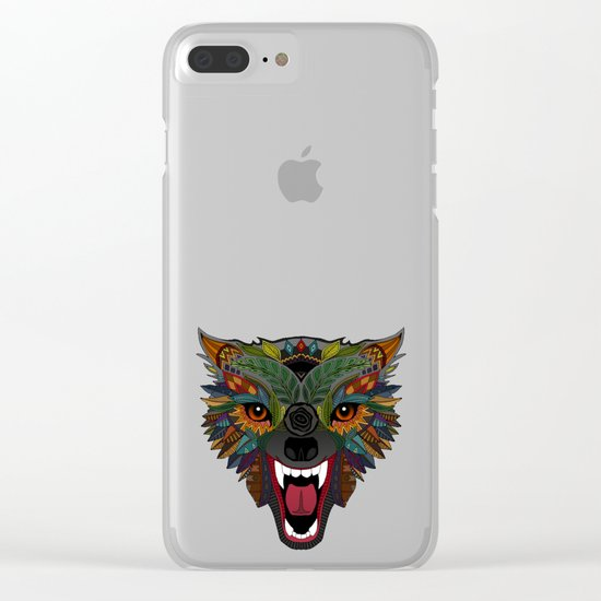 wolf fight flight ochre Clear iPhone Case