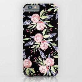 Black Pink Lavender Green Gold Polka Dots Floral iPhone Case