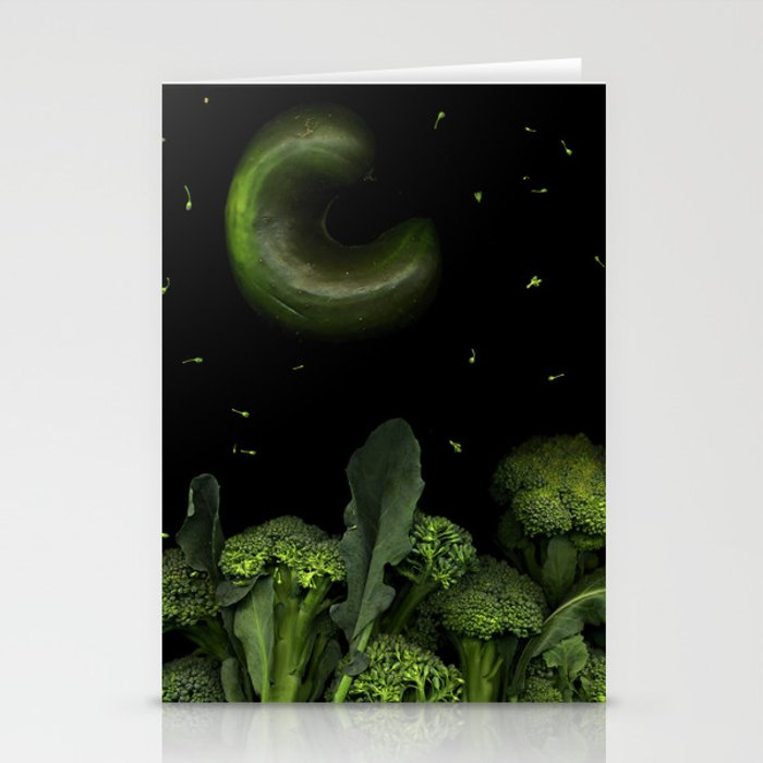 Moon over Broccoli Stationery Cards
