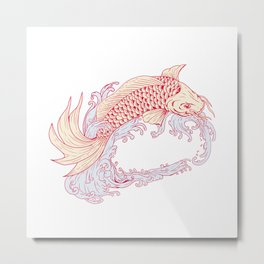 Nishikigoi Koi Jumping Waves Drawing Metal Print