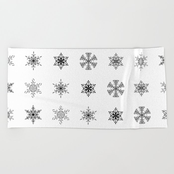 Snowflake Pattern - Black and white winter snowflake pattern artwork Beach Towel