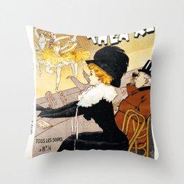 Poster vintage french theatre Apollo Paris Throw Pillow