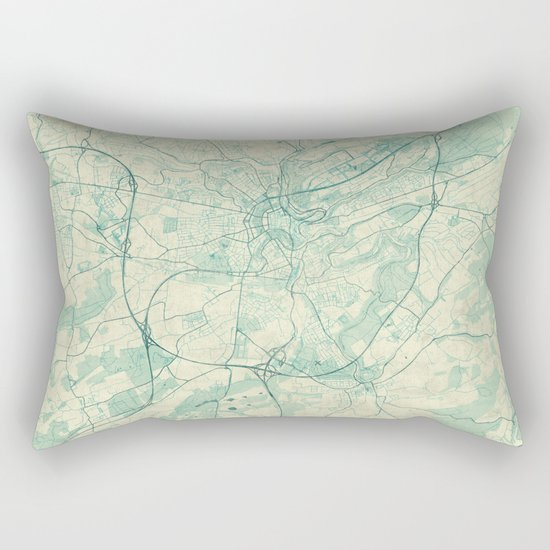 Luxembourg Map Blue Vintage Rectangular Pillow