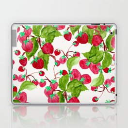 Watercolor hand painted red green strawberries Laptop & iPad Skin