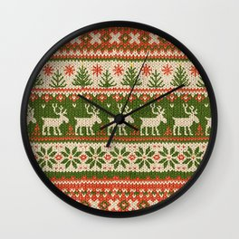 Ugly Christmas Sweater Digital Knit Pattern 4 Wall Clock