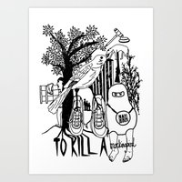 to kill a mockingbird Art Prints featuring To Kill a Mockingbird (Bold) by Louise Norman