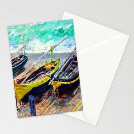 Claude Monet Three Fishing Boats Stationery Cards