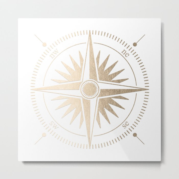 Gold on White Compass Metal Print