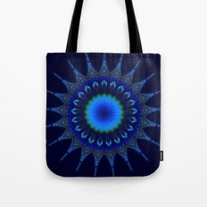 Blue kaleidoscope fractal star Tote Bag
