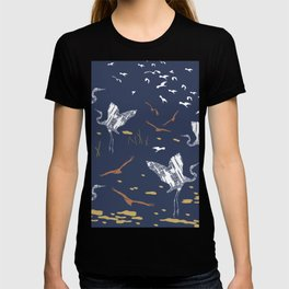 Flying Egrets With Blue Background T-shirt