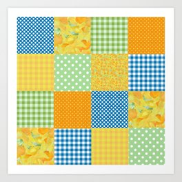 Golden Daffodils Faux Patchwork Art Print