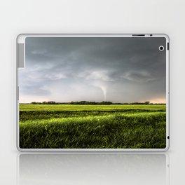 White Tornado - Twister Emerges from Rain Over Field in Kansas Laptop & iPad Skin
