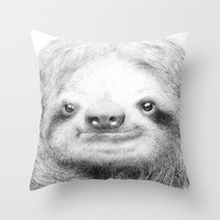 Throw Pillows featuring Sloth by Eric Fan