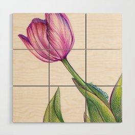 Purple Tulip in Colored Pencil Wood Wall Art
