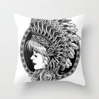 headdress Throw Pillows featuring Headdress by BIOWORKZ