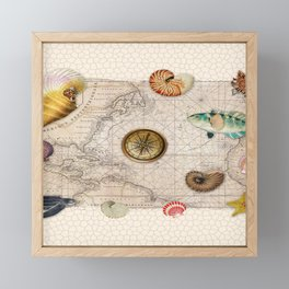 Marine Treasures Beige Tan Stained Glass Pattern Framed Mini Art Print