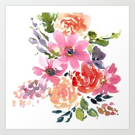 Pink and Purple Bouquet Art Print