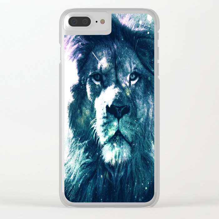 Lion Leo Teal Clear iPhone Case