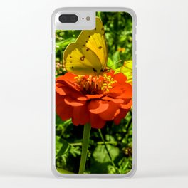 Sulfur Butterfly In The Flower Garden Clear iPhone Case