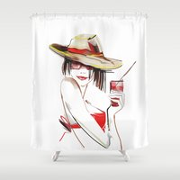 cocktail Shower Curtains featuring cocktail by tatiana-teni