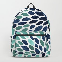 Flower Bloom, Aqua and Navy Backpack