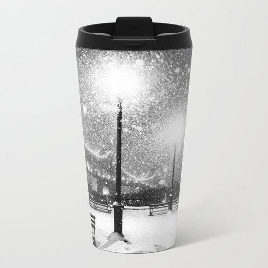 New York City Night Snow Metal Travel Mug