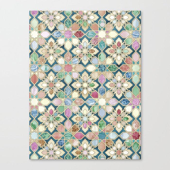 Muted Moroccan Mosaic Tiles Leinwanddruck