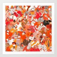 girls Art Prints featuring Girls by Mouni Feddag